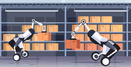 robotic workers loading cardboard boxes hi-tech smart factory robot artificial intelligence logistics automation technology concept modern warehouse interior flat horizontal vector illustration