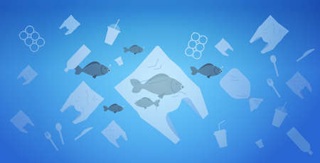 environmental problem of plastic rubbish pollution in ocean save the earth concept bags and other polluting waste floating in water flat horizontal vector illustration Illustration