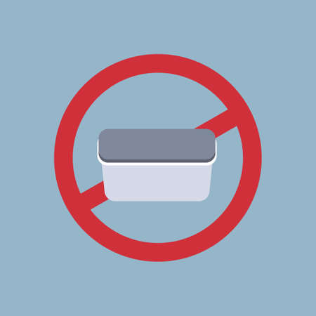say no to plastic food container poster pollution recycling ecology problem save the earth concept lunch box prohibition sign flat vector illustration Illustration