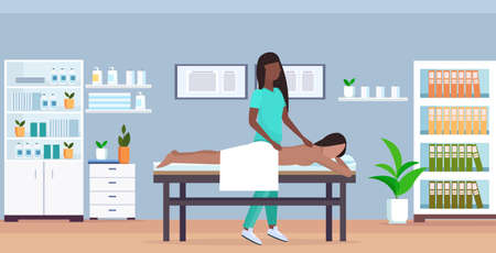 girl having back massage african american masseuse in uniform massaging patient body woman relaxing lying on bed treatments concept modern hospital office interior full length horizontal vector illust