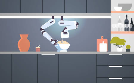smart handy chef robot using mixer kneading dough in bowl for baking robotic assistant innovation technology artificial intelligence concept modern kitchen interior flat horizontal vector illustration  イラスト・ベクター素材