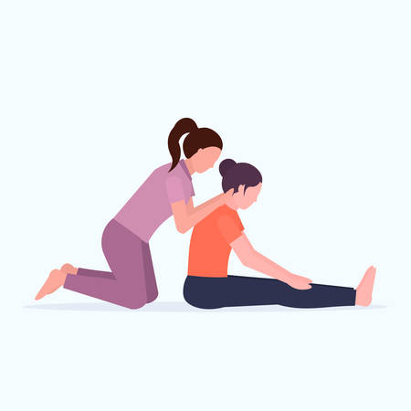 female personal trainer doing stretching exercises with girl fitness instructor helping woman to stretch muscles workout concept flat full length vector illustration