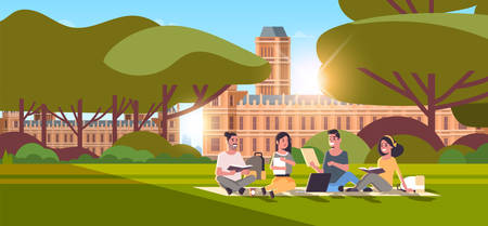 young teenage students group sitting on grass at campus yard education concept college friends relaxing and talking in front of university building exterior horizontal full length vector illustration
