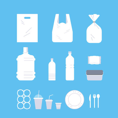 set different disposable objects made of plastic collection pollution recycling ecology problem save the earth concept flat vector illustration