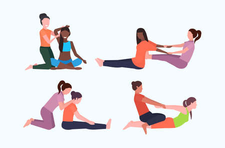 set personal trainer doing stretching exercises with girl fitness instructor helping woman to stretch muscles different poses workout concepts collection flat full length horizontal vector illustration