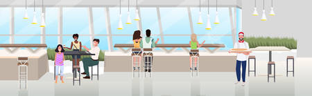 mix race people sitting cafe table spending time at restaurant modern pizzeria interior flat horizontal banner full length vector illustration