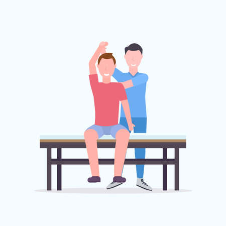 young man sitting on table masseur therapist doing healing treatment massaging patient body manual therapy physiotherapy concept vector illustration