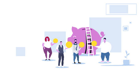 business people group investing money into piggy bank investment crowdfunding concept businesspeople holding coins standing together modern office interior sketch horizontal vector illustration