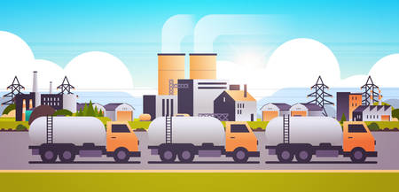 factory building industrial zone with gas or oil tanker trucks pipes chimneys nature pollution dirty waste polluted environment production technology concept horizontal flat vector illustration 일러스트