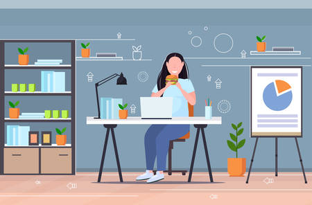 fat obese woman using laptop eating burger fast food unhealthy lifestyle concept overweight girl sitting at workplace modern office interior flat full length horizontal vector illustration Illustration
