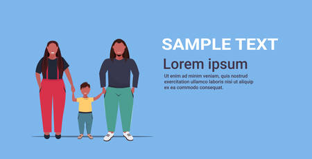 fat overweight family holding hands obese mother father and daughter standing together over size african american parents with child having fun full length flat horizontal copy space vector illustration Illustration