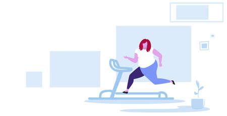 fat obese woman running on treadmill oversize fatty girl weight loss cardio training concept overweight female cartoon character full length horizontal sketch vector illustration 向量圖像