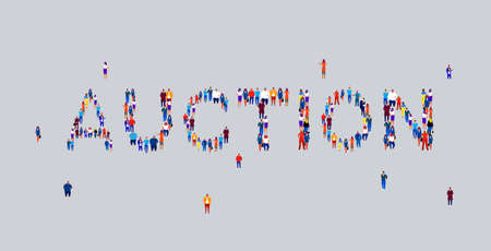 businesspeople crowd gathering in shape of auction word different business people employees group standing together social media community concept flat horizontal vector illustration