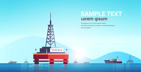sea platform industrial offshore rig drilling facility power station in water oil industry concept seascape mountains background flat horizontal copy space vector illustration
