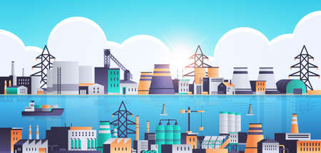 factory building industrial zone plant with pipes and chimneys near sea or river production technology concept horizontal flat vector illustration 일러스트