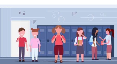 fat obese schoolgirl being bullied by other pupils group obesity concept friends bullying sad overweight girl in school corridor interior flat horizontal full length vector illustration
