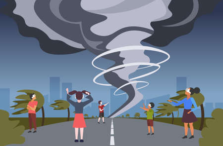 people wearing modern 3d glasses men women looking at virtual reality storm twisting tornado over high road through headset vision vr digital technology concept flat horizontal full length vector illustration  イラスト・ベクター素材