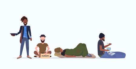 tramps poor homeless characters needing money beggars group begging for help unemployment homeless jobless concept flat full length horizontal vector illustration