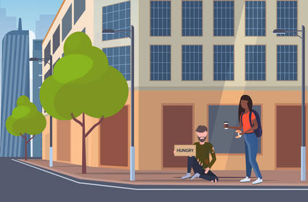 woman giving food to hungry beggar man sitting on city street with sign board begging for help homeless unemployment concept building exterior cityscape background horizontal full length vector illustration
