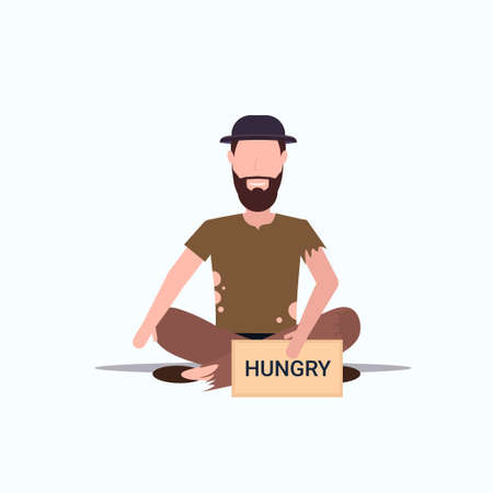 bearded man beggar in hat holding sign board with hungry text tramp sitting on floor begging for help homeless jobless concept flat full length white background vector illustration Ilustração