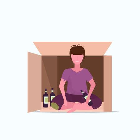 sad man drunk beggar sitting in cardboard box with bottle of alcohol homeless jobless unemployment concept male cartoon character flat full length vector illustration Ilustração