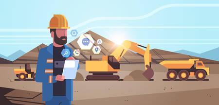 open pit man worker in helmet using mobile app excavator loading soil on dump truck professional equipment working on coal mine production opencast stone quarry background portrait horizontal vector illustration