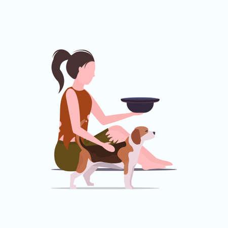 poor woman with dog sitting on floor beggar girl holding hat begging for money homeless jobless unemployment concept white background full length vector illustration