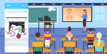 pupils sitting desks looking at female teacher pointing skeleton biology anatomy lesson school education concept online mobile app modern classroom interior full length horizontal vector illustration 向量圖像