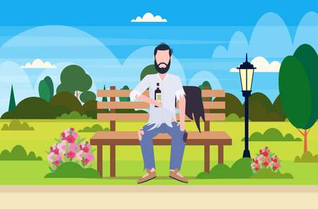 poor man drunk beggar sitting on wooden bench holding bottle of alcohol homeless jobless concept city urban park landscape background full length flat horizontal vector illustration
