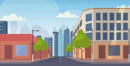 city street skyscraper buildings road view empty no people downtown cityscape background flat horizontal vector illustration Иллюстрация
