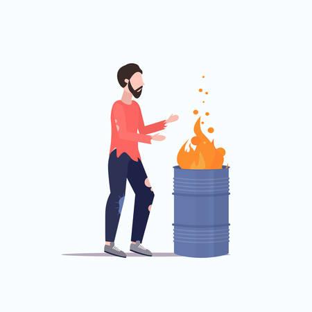 poor man warming by fire beggar guy standing near burning garbage in barrel homeless jobless concept flat full length vector illustration