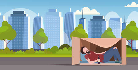 poor man sleeping outdoor drunk beggar lying in cardboard box with bottle of alcohol homeless jobless concept cityscape background flat horizontal full length vector illustration