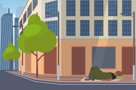 man beggar covered with blanket sleeping outdoor on city street tramp lying on floor homeless jobless unemployment concept building exterior cityscape background flat full length horizontal vector illustration Illustration