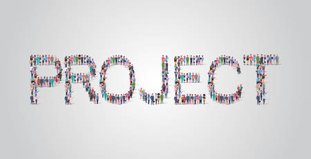 people crowd gathering in shape of project word different occupation employees mix race workers group standing together social media community concept flat horizontal vector illustration