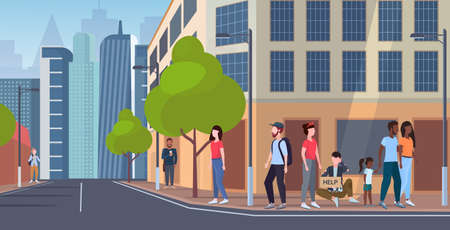 man beggar holding sign board with help text tramp sitting outdoor on city street begging for help homeless jobless concept cityscape background flat full length vector illustration
