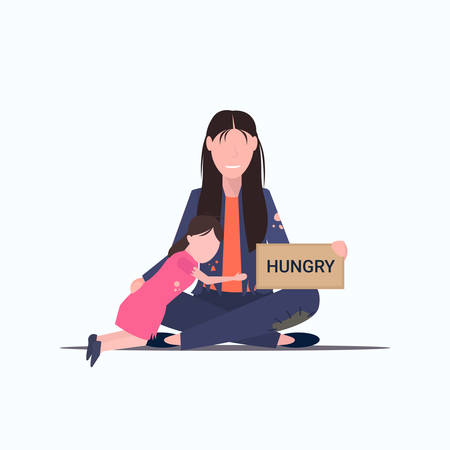 sad mother with little daughter beggar holding sign board with hungry text tramp woman with child begging for help homeless poverty concept flat full length white background vector illustration