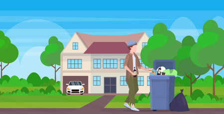 man beggar holding bottle of alcohol tramp searching food and clothes in trash can on street homeless jobless unemployment poverty concept cottage building countryside background full length vector illustration