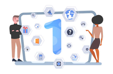 couple looking at laptop screen with different applications man woman developing adaptive user interface app development concept flat full length horizontal vector illustration