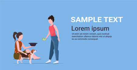 girl giving money to poor woman sitting on floor with dog begging for help female beggar holding hat homeless jobless unemployment concept horizontal flat copy space full length vector illustration Stock Illustratie