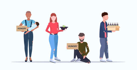tramps poor homeless characters needing money different beggars group begging for help unemployment homeless jobless concept flat full length horizontal vector illustration