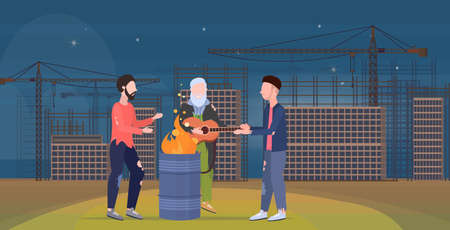 poor men group warming by fire beggars playing guitar standing near burning garbage in barrel homeless jobless unemployment concept construction site background horizontal flat full length vector illustration Vettoriali