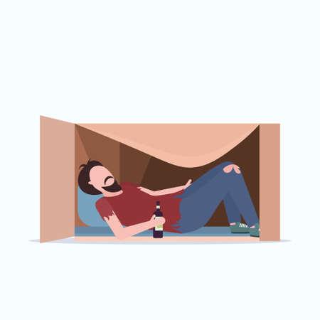 poor man sleeping outdoor drunk beggar lying in cardboard box with bottle of alcohol homeless jobless concept male cartoon character flat full length vector illustration Ilustração