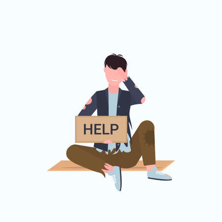 man beggar holding sign board with help text tramp sitting on floor begging for help homeless jobless concept flat full length white background vector illustration