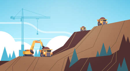professional equipment working on coal mine production extraction industry mining transport concept opencast stone quarry mountain background flat horizontal vector illustration