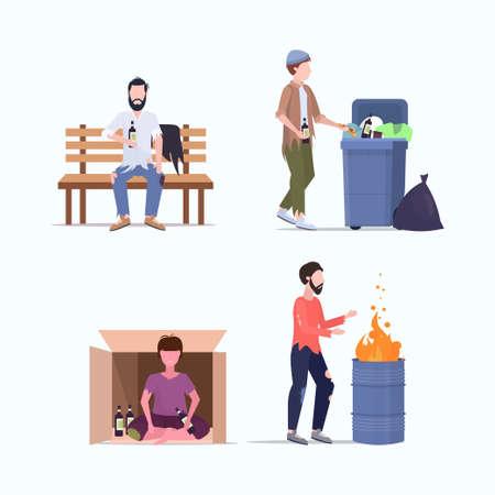 Establecer vagabundos pobres personajes sin hogar que necesitan ayuda diferentes mendigos desempleo hombres sin hogar conceptos de desempleo colección plana ilustración vectorial de longitud completa