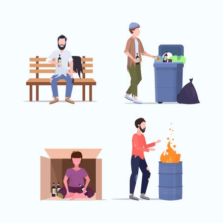 set tramps poor homeless characters needing help different beggars unemployment men homeless jobless concepts collection flat full length vector illustration Vettoriali