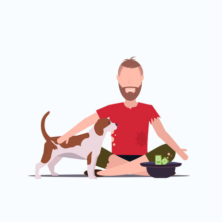 poor bearded man with dog sitting on floor beggar guy begging for money homeless jobless concept white background full length vector illustration