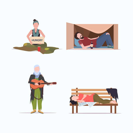 set tramps poor homeless characters needing help different beggars unemployment homeless jobless concepts collection flat full length vector illustration