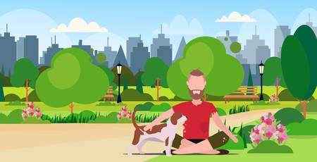poor bearded man with dog sitting in urban park beggar guy begging for help homeless jobless concept cityscape landscape background full length flat horizontal vector illustration