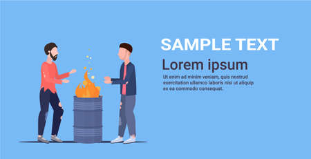 two poor men warming by fire beggars standing near burning garbage in barrel homeless jobless unemployment concept horizontal copy space flat full length vector illustration
